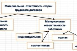 Схема видов материальной ответственности работника