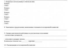 Форма протокола аттестационной комиссии