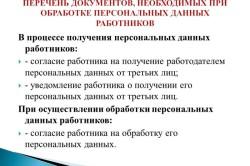 Перечень документов, необходимых при обработке персональных данных работников
